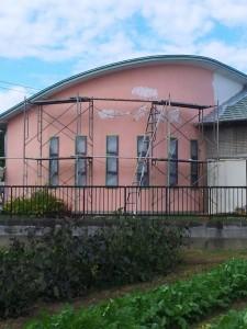 外壁と看板の工事